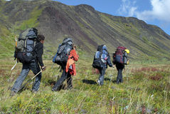 Four hikers Stock Photo