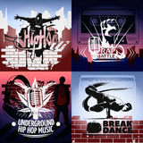 Four Hip Hop Icon Set Royalty Free Stock Images