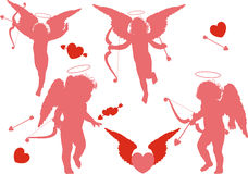 Four holiday cupid Stock Images