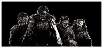 The  Four Horesemen of the Apocalypse. Black and white illustration of The  Four Horesemen of the Apocalypse Royalty Free Stock Image