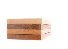 Four horizontal boards (elm, acacia, lime, oak). On a white background Stock Images