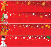 Four horizontal christmas banners. Stock Images