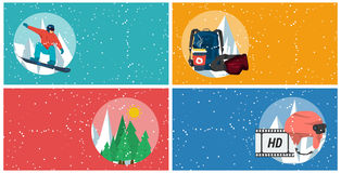 Four horizontal winter sport banners Royalty Free Stock Photos