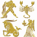 Four horoscope symbols Stock Image