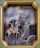 The four horsemen of the apocalypse. Saint George altar in the Basilica of the Sacred Heart of Jesus in Zagreb, Croatia Royalty Free Stock Photos