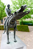 Four Horsemen of the Apocalypse. Sculpture group The Four Horsemen of the Apocalypse by Rik Poot at the Hof Arents in Bruges / Brugge, West Flanders, Belgium Royalty Free Stock Image