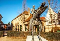 Four horsemen of Apocalypse statue in Bruges, Belgium.  Royalty Free Stock Photography