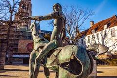 Four horsemen of Apocalypse statue in Bruges, Belgium Stock Photo