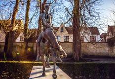 Four horsemen of Apocalypse statue in Bruges, Belgium.  Royalty Free Stock Photo