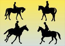 Four horses. Illustration of four horses and jockeys Stock Photo