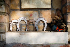 Four horseshoes. On the barnyard Stock Images