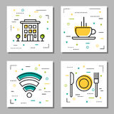 Four hotel service linear icons. Vector four square hotel service linear icons with additional elements. Building with trees, cup of coffee, set of dishes for Royalty Free Stock Image