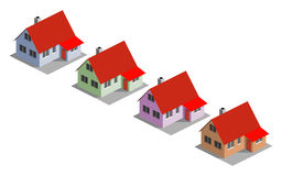 Four houses. Four colored houses, 3D vector illustration Stock Photo