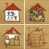 Four houses & construction Stock Image