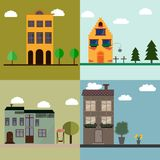 Four houses flat illustration royalty free stock photography