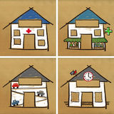 Four houses - health & service Royalty Free Stock Photos