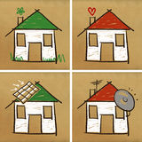 Four houses & home Stock Photography