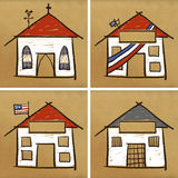 Four houses & institutions. Four hand drawn houses on brown paper - institutions Royalty Free Stock Images
