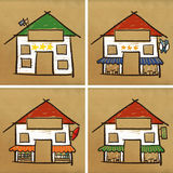 Four houses & service. Four hand drawn houses on brown paper - service Stock Images