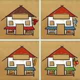 Four houses & stores Stock Images