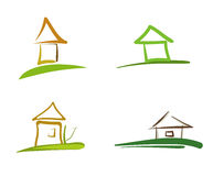 Four houses symbols. Artistic vector illustration stock illustration