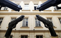 Four huge guns Stock Image