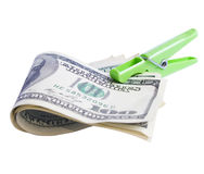 Four hundred dollar. Bills hanging on clothes peg Stock Images