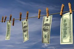 Four hundred dollar bills hanging on a clothesline Royalty Free Stock Photos