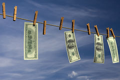 Four hundred dollar bills hanging on a clothesline Royalty Free Stock Image