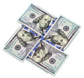 Four hundred dollar bills on white background Royalty Free Stock Photo