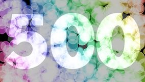 Four hundreds ninety nine to five hundreds points, level, rank fade in/out animation with color gradient moving bokeh background.