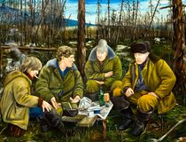 Four hunters in camp talking. Oil painting Stock Photo