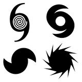 Four Hurricane Florence vector symbols in black Vector Illustration