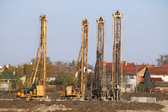 Four hydraulic drilling machines Stock Photography