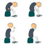 Four icon depressed sitting man Stock Photos