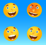 Four icon faces with differen emotions. Stock Photography