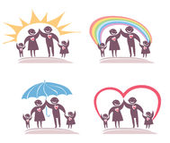Four icon family. Royalty Free Stock Images