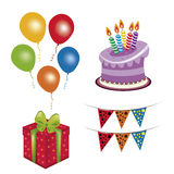 Four icons for birthday Royalty Free Stock Photo