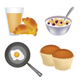 Four icons for breakfast Stock Photos