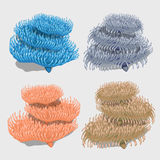 Four icons bushy corals of different colors. Blue, pink, brown, grey Royalty Free Stock Photos