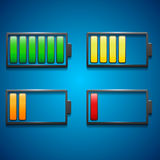Four icons of charge from maximum to minimum in di Stock Photography