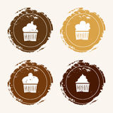 Four icons with cupcakes Royalty Free Stock Images
