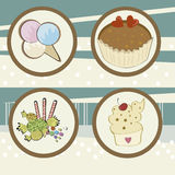 Four icons of dessert Stock Photography