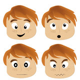 Four icons of facial expressions Stock Images