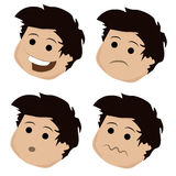 Four icons of facial expressions Stock Photography