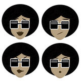 Four icons of facial expressions Royalty Free Stock Photo