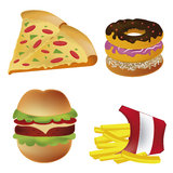 Four icons of fast food Royalty Free Stock Photos