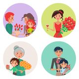 Four Icons with Flowers and People on Womens Day. Four happy icons with flower and people on womens day vector illustration. Humans holds bouquet of tulips Royalty Free Illustration