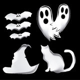 Four icons for halloween. Four silhouettes of icons used in halloween in a black background Royalty Free Stock Image