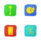 Four Icons in Handdrawn Style. Four Icons on Business Theme in Handdrawn Style with Uneven Edges and Hatching. vector EPS 10 Stock Images